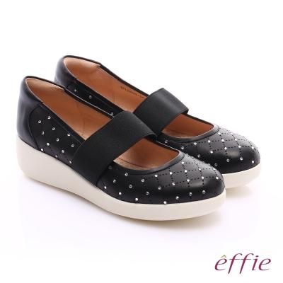 effie 挺麗氣墊 羊皮水鑽寬版鬆緊帶奈米休閒鞋 黑