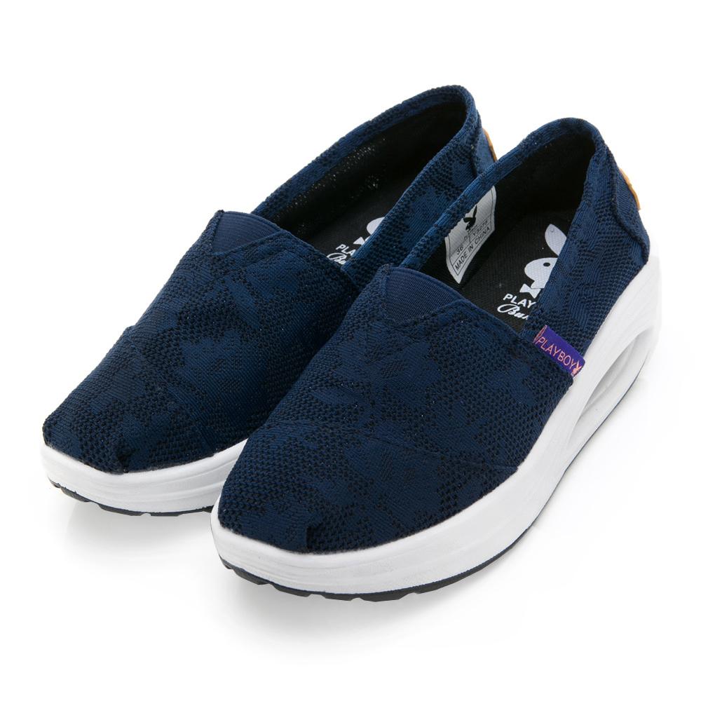 PLAYBOY 活力春享 印花輕量氣墊休閒鞋-藍