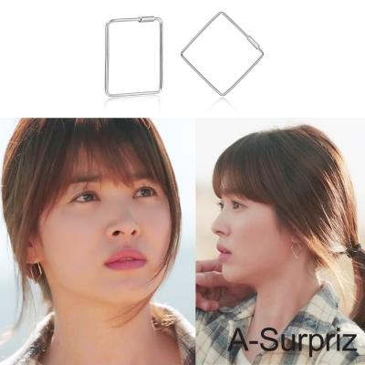 A-Surpriz 太陽的後裔100%925銀菱型耳環