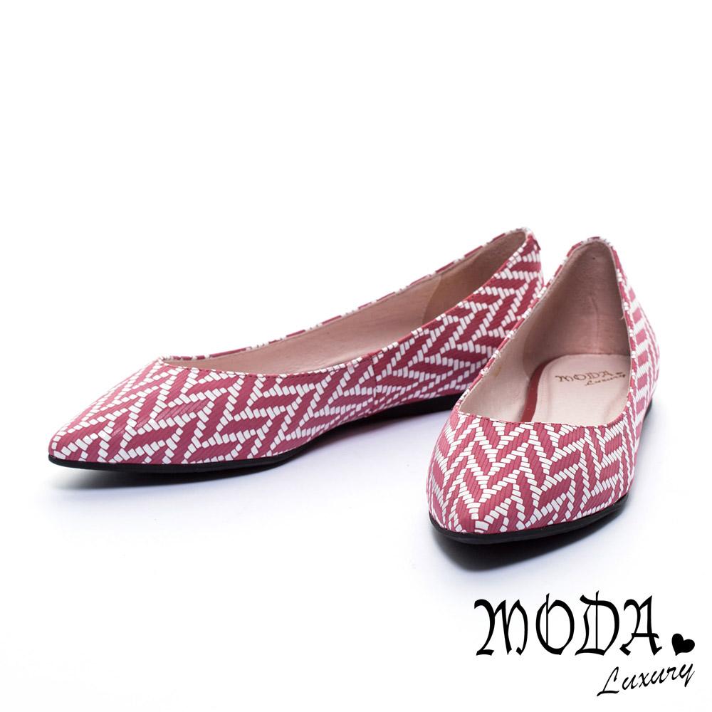 平底鞋 MODA Luxury 優雅美型穗麥圖騰羊皮尖頭平底鞋-紅