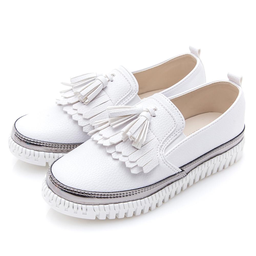 Camille s韓國空運-正韓製-流蘇厚底懶人鞋-白色
