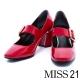 跟鞋-MISS-21-復古巴黎亮澤漆皮感瑪麗珍粗跟