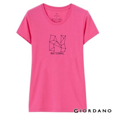 GIORDANO-女裝純棉長版印花TEE-45迷蒙
