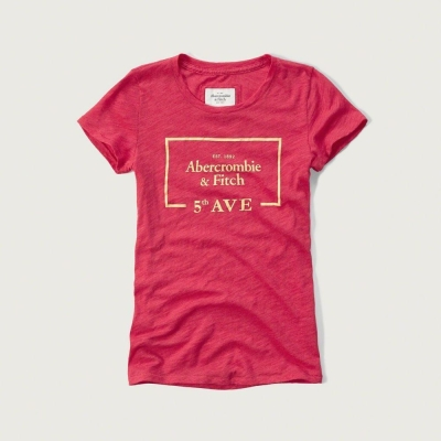 AF a&f Abercrombie & Fitch 女T恤 粉紅色 0021