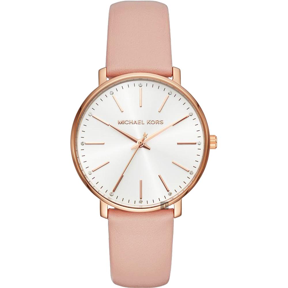 Michael Kors Pyper 紐約時尚女錶-銀x玫塊金框x粉色錶帶/38mm