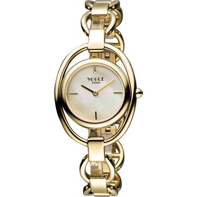 VOGUE Tornabuoni 馬銜鍊手鍊錶-天然珍珠貝x金/30mm
