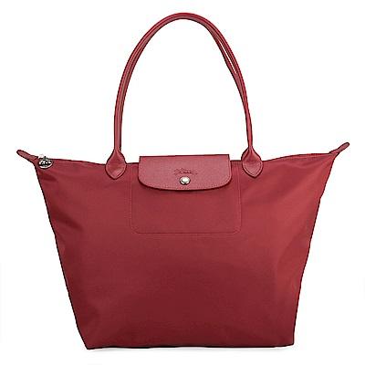 Longchamp 厚尼龍中型長柄水餃包-紅色