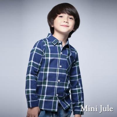 Mini Jule 童裝-襯衫 格紋單口袋長袖襯衫 (綠)