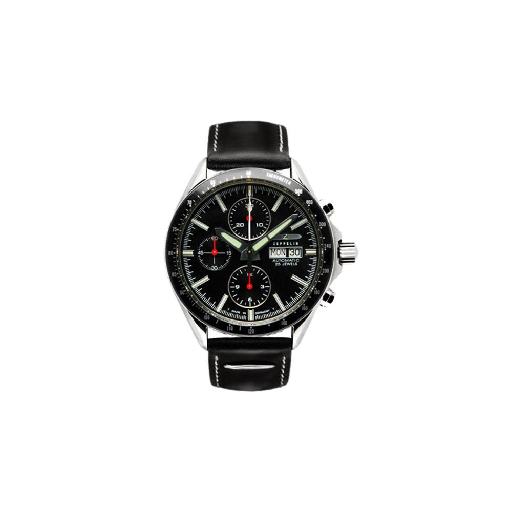 ZEPPELIN 德國榮耀三眼計時機械腕錶-黑/41mm