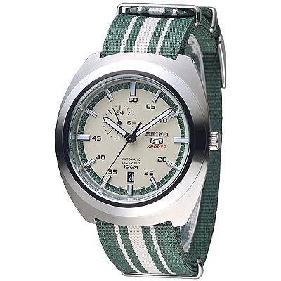 SEIKO 迷彩運動風5號24石自動機械錶(SSA285K1)-綠*米白/45mm