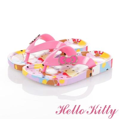 HelloKitty 好朋友系列 蝴蝶結舒適休閒夾腳拖鞋童鞋-粉