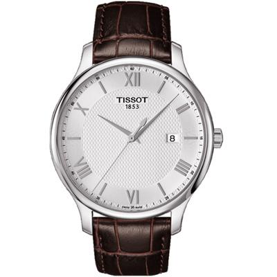 TISSOT T-TRADITION 經典薄型紐索紋石英腕錶-銀/42mm