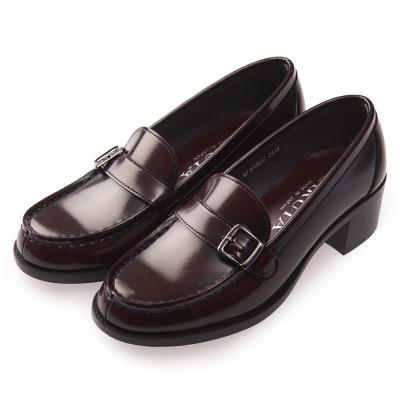 (女)日本HARUTA 經典粗跟扣環學生鞋-咖啡色