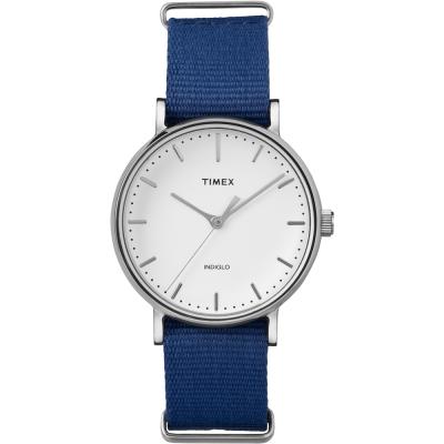 TIMEX 天美時週末Fairfield系列時尚女錶-白x藍/37mm