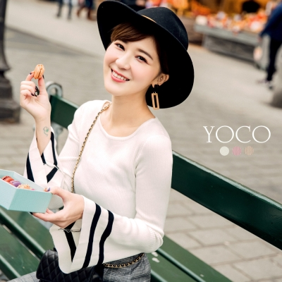 東京著衣-yoco 安琪聯名巴黎美學多色喇叭袖上衣-XS.S.M.L(共三色)