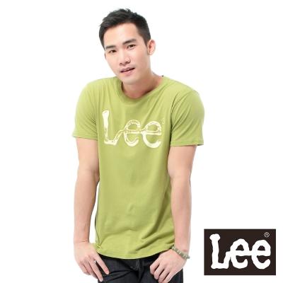 Lee-短袖T恤-米白LOGO噴漆印刷-男款-草綠