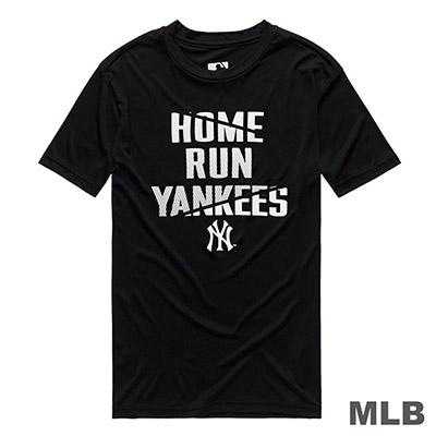 MLB-紐約洋基隊科技感印花快排短T-黑 (男)