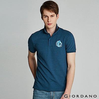 GIORDANO 男裝馬頭立體刺繡彈力萊卡短袖POLO衫-06 雪花深鯨魚藍