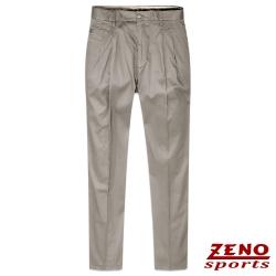 ZENO 彈性精品素色打摺休閒褲‧灰褐30~42