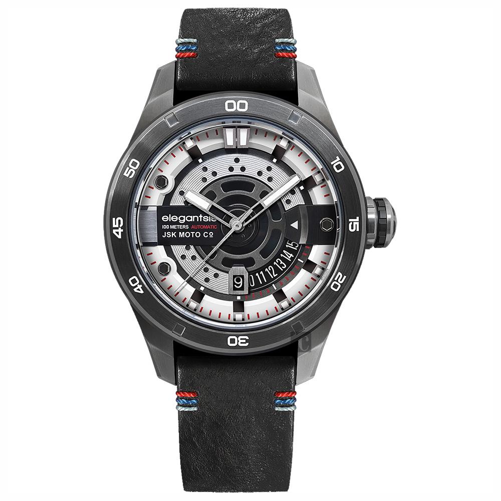 elegantsis x JSK moto JX65AS 聯名限量機械錶-精煉白/48mm