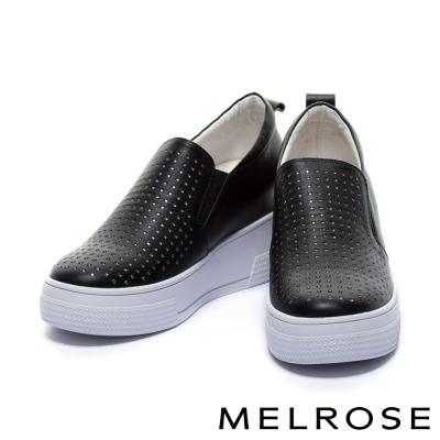 休閒鞋-MELROSE-全真皮幾何排鑽內增高厚底休