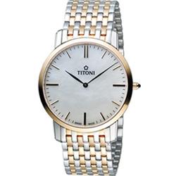TITONI Slenderline 梅花錶超薄紳士腕錶-銀色X玫瑰金色/38mm