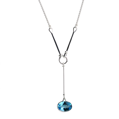 Georg Jensen Savannah 藍拓帕石 純銀項鍊