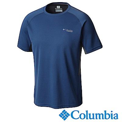 Columbia 哥倫比亞 男-鈦防曬15涼感快排短袖上衣藍色UAE06330NY