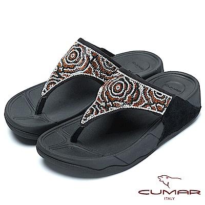 CUMAR樂活時尚花朵水鑽排列超舒適厚底夾腳鞋-黑色