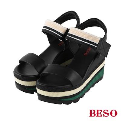 BESO 夏日風情 歐美素雅織帶一字帶涼鞋~黑