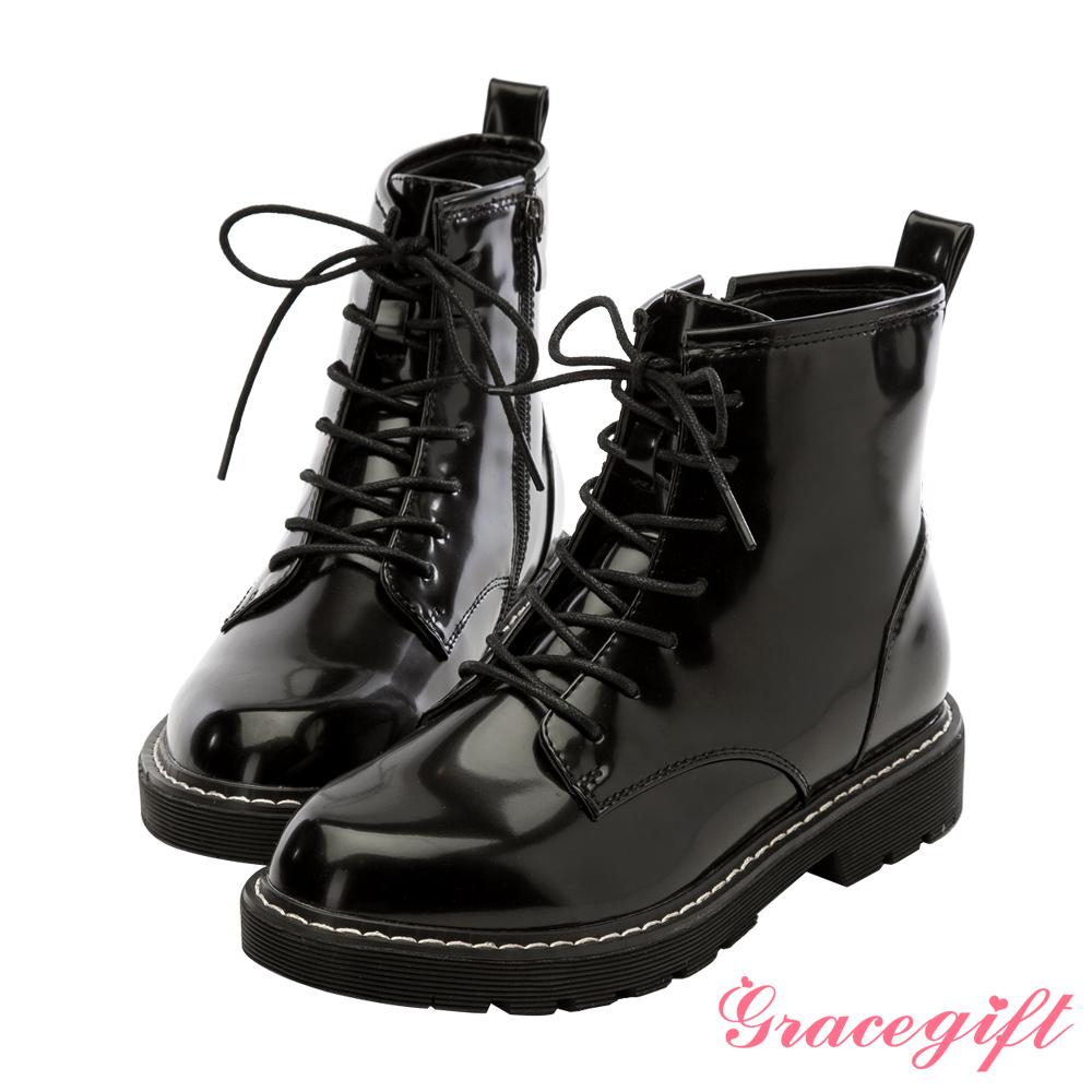 Grace gift-漆皮綁帶馬汀短靴 黑