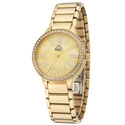 Kappa 閃耀羅馬不鏽鋼時尚腕錶-黃母貝x金/35mm
