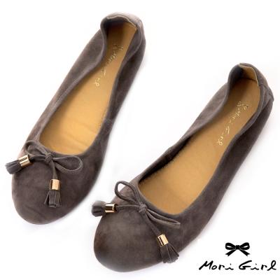 Mori girl全真皮蝴蝶結加厚軟墊娃娃鞋 灰