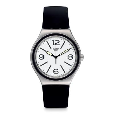 Swatch 金屬系列 NOIR DU SOIR 悠閒黑白手錶-41mm