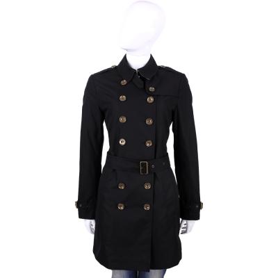 BURBERRY 黑色棉質府綢排釦風衣外套