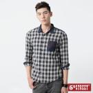 5th STREET 配布口袋長袖襯衫-男-灰藍色