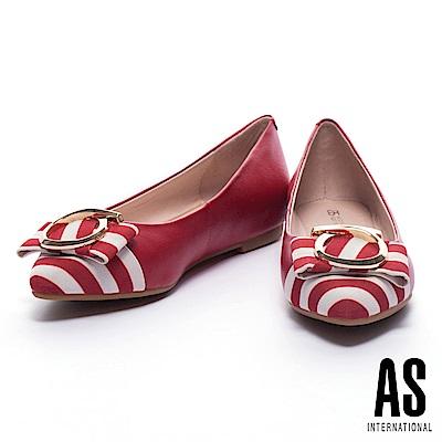 平底鞋 AS 夏日度假風金圓飾設計異材質拼接尖頭內增高平底鞋-紅