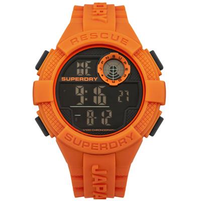 Superdry 極度乾燥 個性潮流 矽膠 運動腕錶-橘/50mm