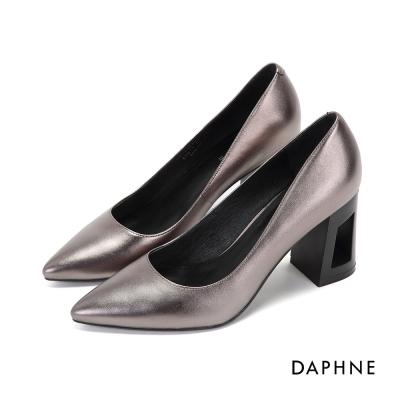達芙妮DAPHNE 高跟鞋-真皮縷空時尚尖頭高跟鞋-錫