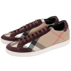 BURBERRY HOUSE 格紋拼接麂皮綁帶休閒鞋(女鞋/紫紅色)