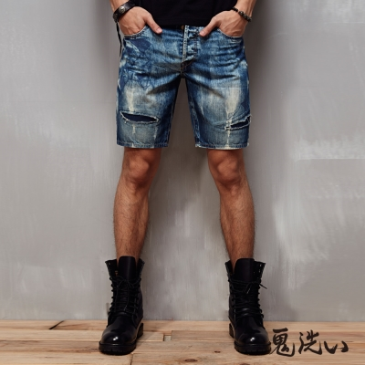 鬼洗 BLUE WAY 民俗圖騰繡鬼頭短褲-牛仔藍