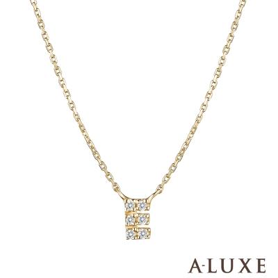 A-LUXE 亞立詩 Alphabet系列10K鑽石項鍊-E