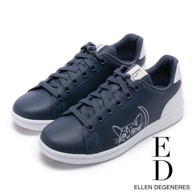 ED Ellen DeGeneres 真皮貓咪舒適休閒鞋-藍色