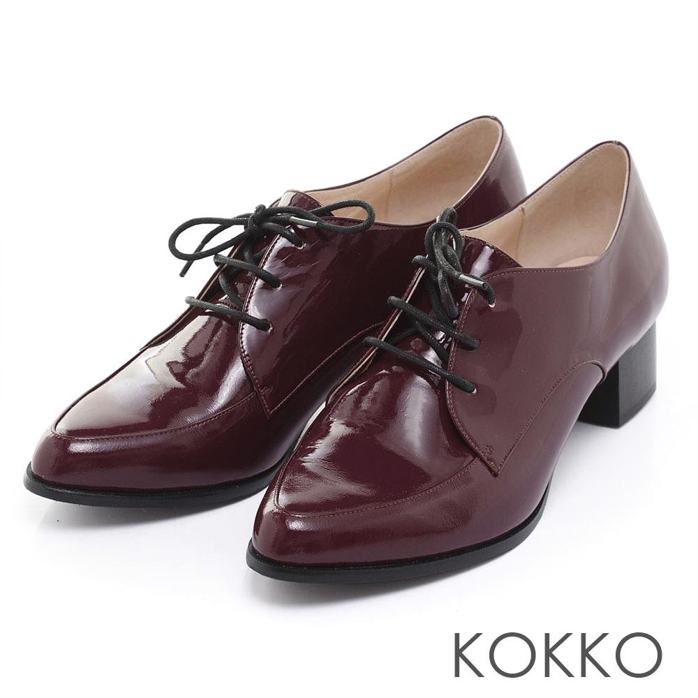 KOKKO透氣舒壓 - 中性尖頭牛漆皮紳士鞋 - 紅色