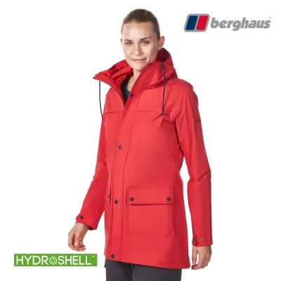 【Berghaus貝豪斯】女款HydrShell防水透氣長版外套H22F30紅