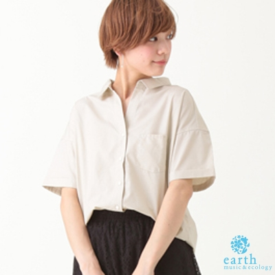 earth music&ecology 短袖落肩寬鬆剪裁襯衫