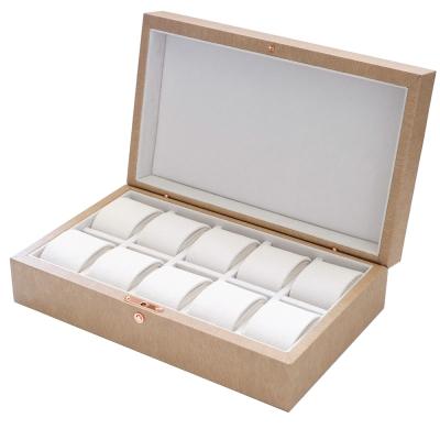 PARNIS BOX精緻質感收藏盒 皮革10只裝不開窗 卡其質感 附鎖 (皮革07) 現貨