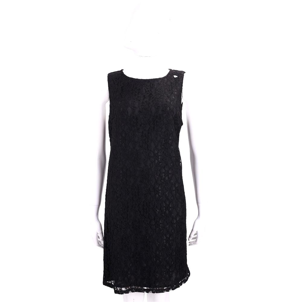 BLUGIRL-FOLIES 黑色蕾絲雕花無袖洋裝
