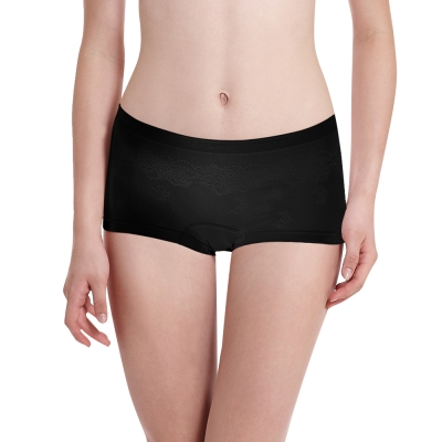 LADY 超彈力親膚無痕系列 中腰平口內褲 (黑色)