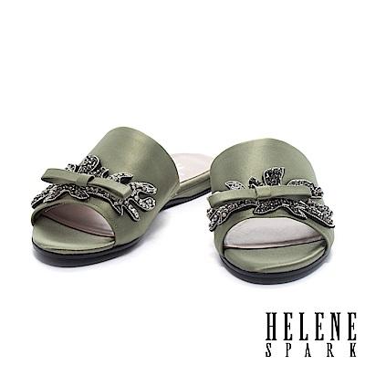 拖鞋 HELENE SPARK 低調閃爍水鑽飾一字絲緞平底拖鞋-綠